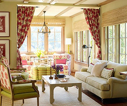 Cottage living room curtain ideas interior design Bungalow living room design