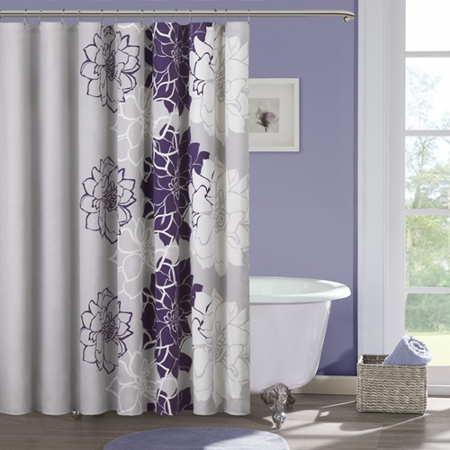 Curtain bathroom the right shower curtain for your bathroom interior design - Purple bathroom accessories uk ...
