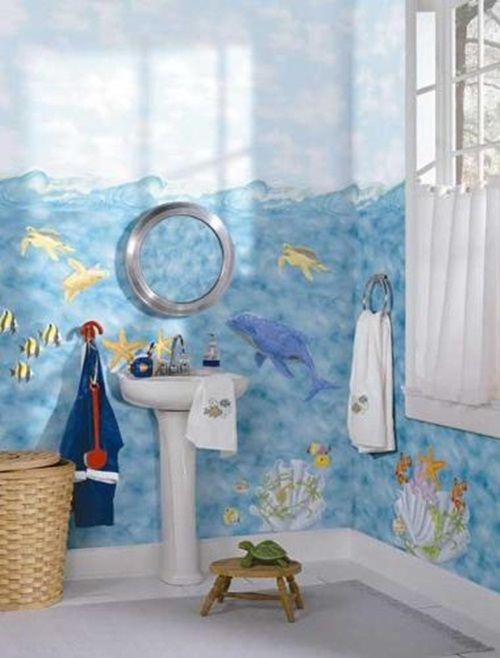 Designing kids bathroom colors and themes interior design for Bathroom color theme ideas