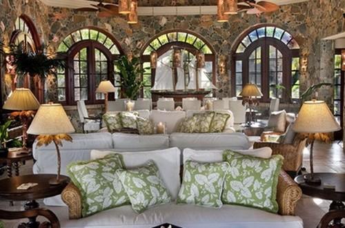 Living room interior design ideas and decorating ideas for Palm tree living room ideas