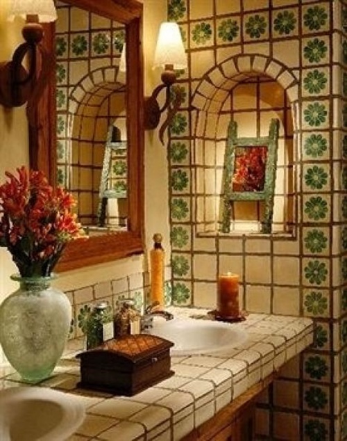 Small Bathroom Decor Mexican Saltillo Style Home Interior Design