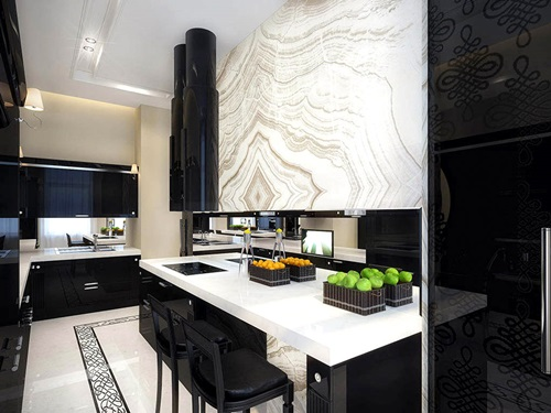 Breathtaking Glossy Black and White Kitchen Designs