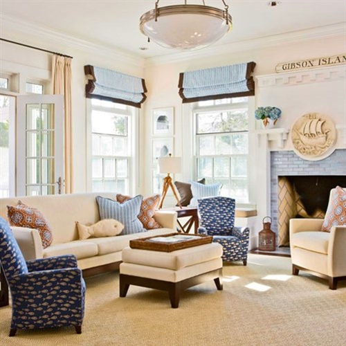Breezy beach living room decorating ideas interior design for Cottage living room design ideas