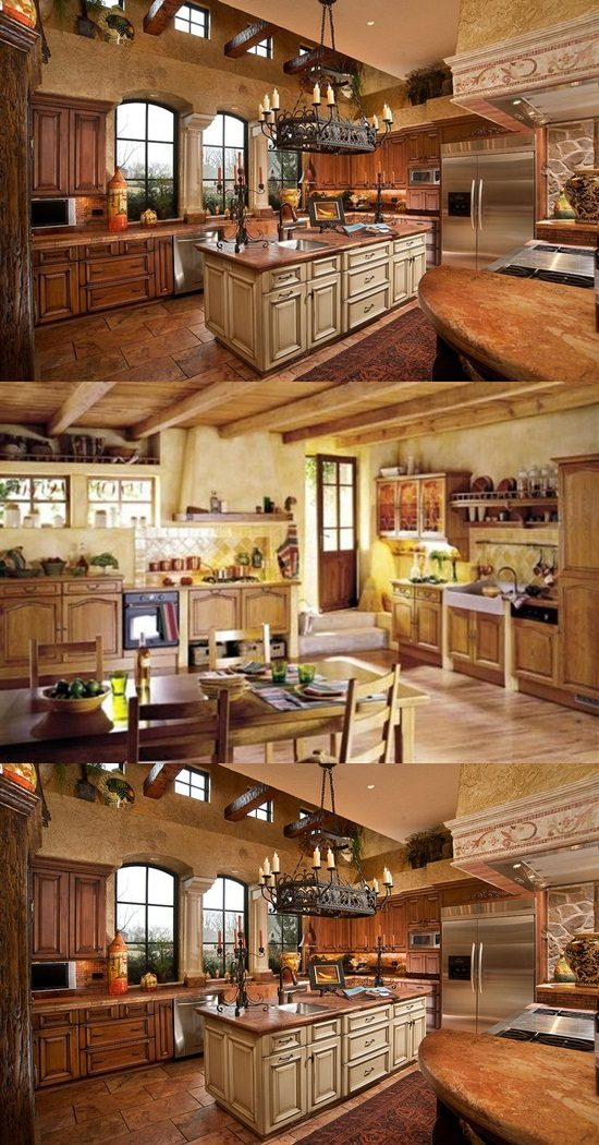 Charming Country Kitchen Decorations With Italian Style Interior Design