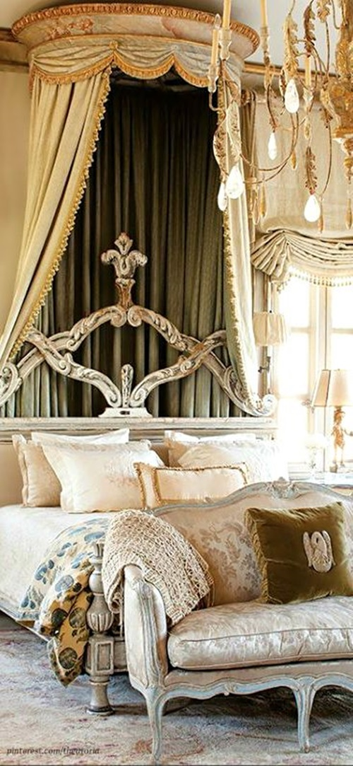 Elegant french boudoir themed bedroom style interior design for A bedroom in french