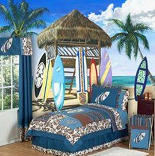 Tropical theme bedroom decorating ideas interior design for Boys beach bedroom ideas