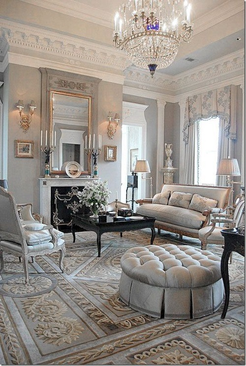 Chic and luxurious large french style living room ideas for Lounge room styling ideas