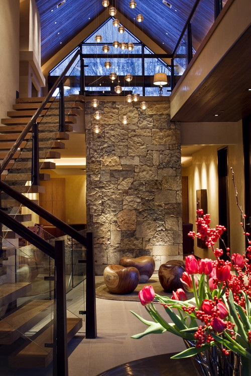 Lighting Basement Washroom Stairs: Contemporary Entryway Foyer Decorating Ideas