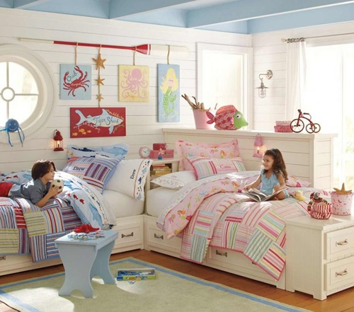 Shared Kids Room Decor: Cute Scandinavian Kids Room Decorating Ideas