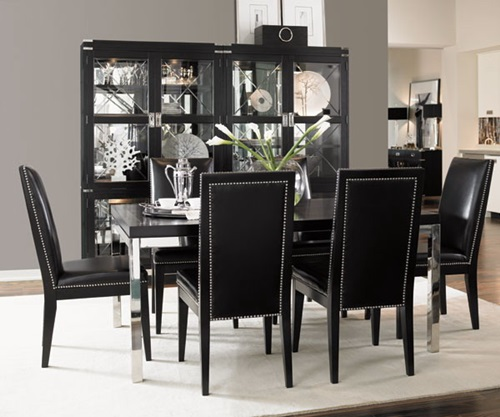 Impressive ideas to your modern black and white dining for Black dining room decor