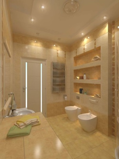 Impressive modern bathroom ceiling and wall lighting ideas for Small bathroom high ceiling
