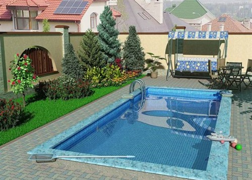 Mosaic tile luxurious designs for outdoor swimming pools for Outdoor pool decorating ideas