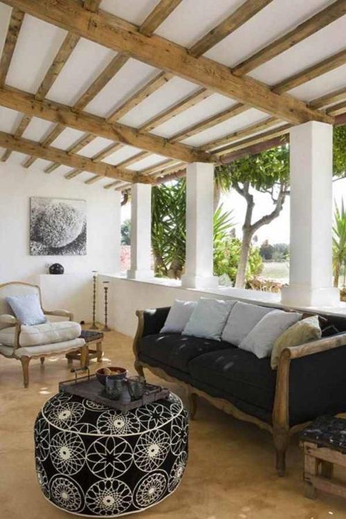 Spanish Home Interior Design Amusing Colonial Spanish Home Interior Design  With Black Arched Windows And ExposedSpanish Home Interior Design Home  Design ...