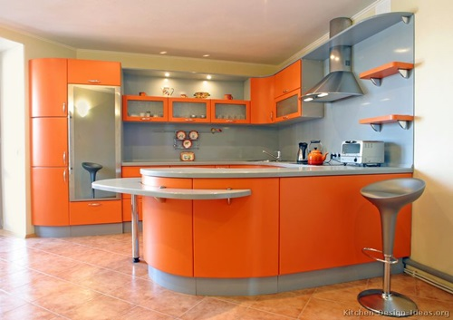 How to incorporate orange color in your modern home decor - Couleur pour une cuisine ...