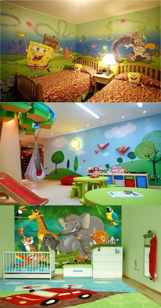 a great way to decorate your kid s room by colorful wallpaper interior design. Black Bedroom Furniture Sets. Home Design Ideas