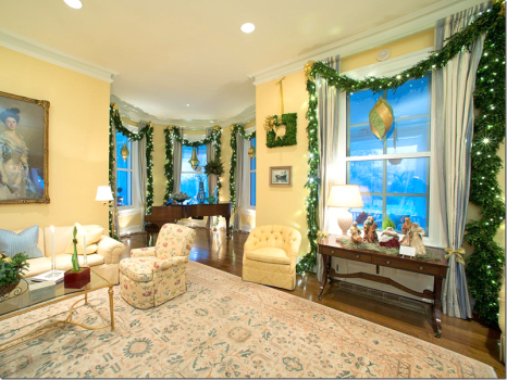 Family Room in a White Merry Christmas Style