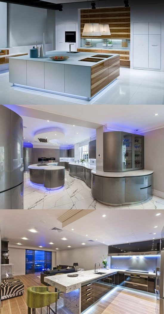 Futuristic Kitchen Led Lighting Interior Design