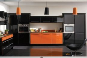 Have a fabulous contemporary kitchen with orange and black colors
