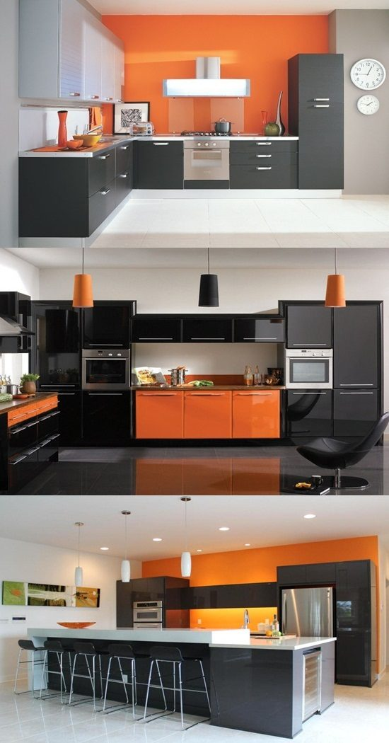 modern black and white kitchen interior fabulous design | Have a fabulous contemporary kitchen with orange and black ...