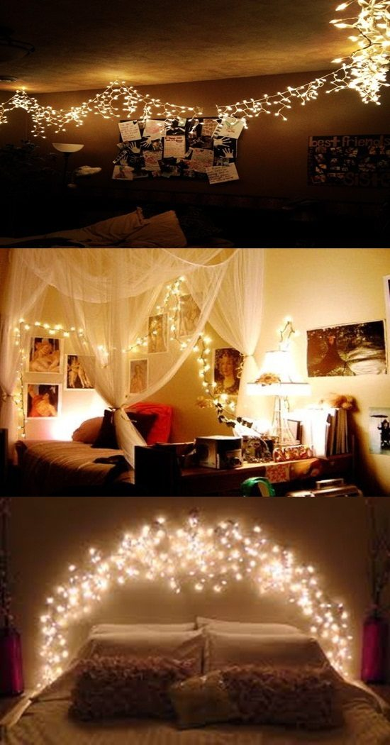 Ideas To Get A Romantic Bedroom With Christmas Light Interior Design