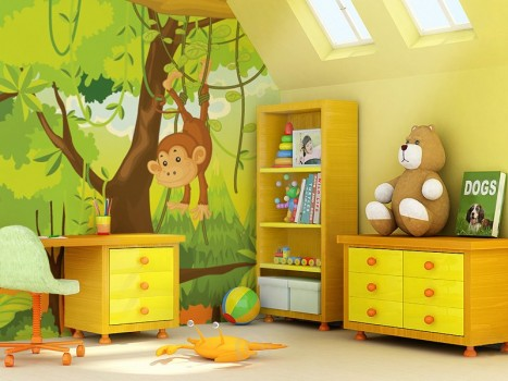 decorate your kid's room by colorful Wallpaper