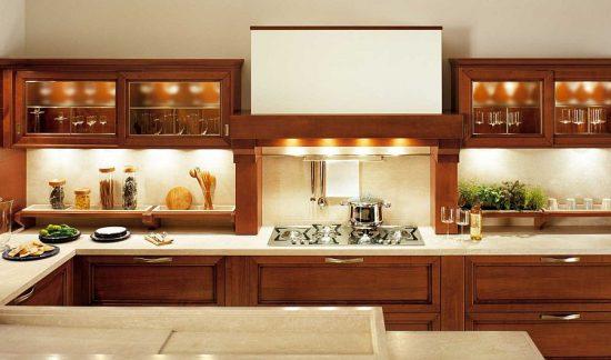 elegant inviting kitchen in warm shades
