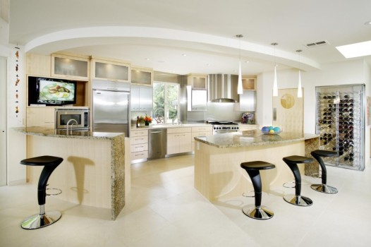 kitchen with stylish Modern chairs and table