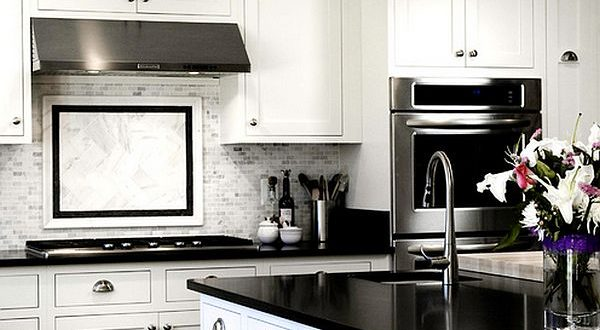 stylish white and black kitchen