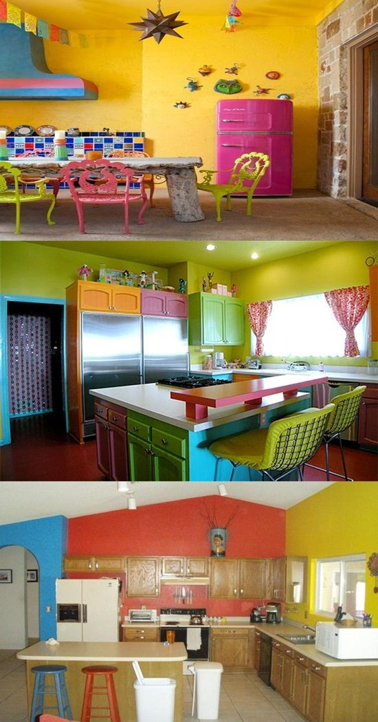 A funny kitchen with a crazy and colorful decor