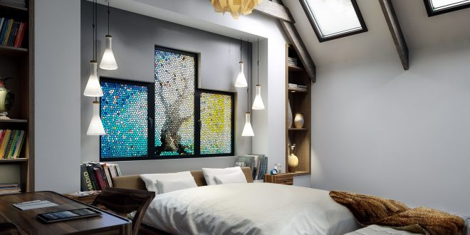 Unique Bedroom design Using Stained Glass and Stainless Steel items