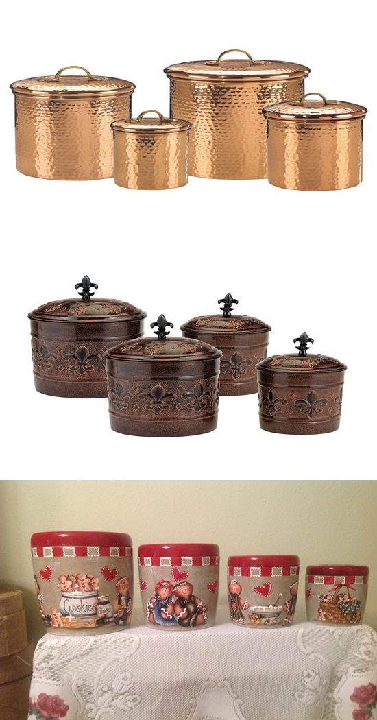 Elegant kitchen canisters elegant brown ceramic jar gold floral design black lid new 3pc for Kitchen set elegant