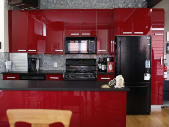 Modern Kitchen Designs with Red Cabinets that pop the overall look