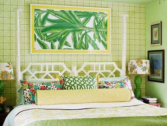 a green colored bedroom and enjoy the natural beauty