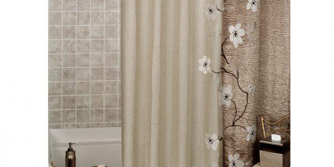 creative look in your bathroom with nice modern curtain