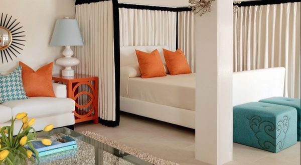 """your room with a simple """"Curtain"""" as a wall divider"""