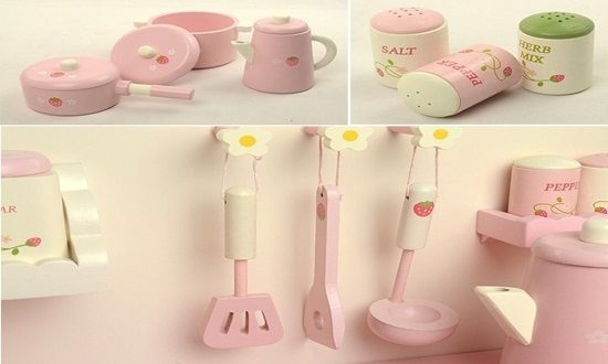 Offer your child a splendid pink play kitchen gift to have fun together