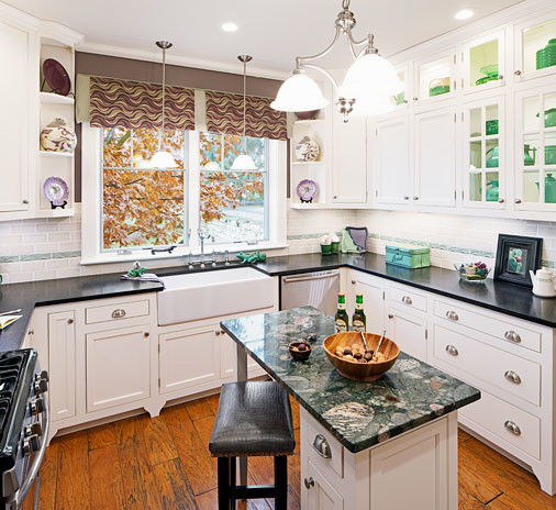 Sophisticated and warm kitchen finishes by copper leaf for Warm kitchen designs