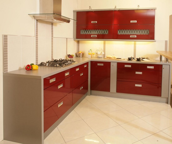 Modern kitchen designs designs with red cabinets that pop for Pop design for kitchen