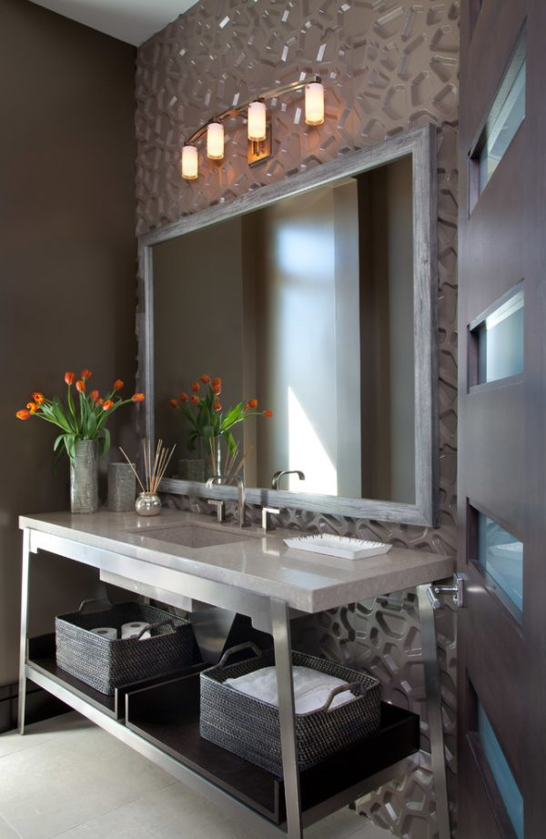 bathroom decorating ideas and designs Remodels Photos ashley campbell interior design Denver Colorado United States contemporary-powder-room-001