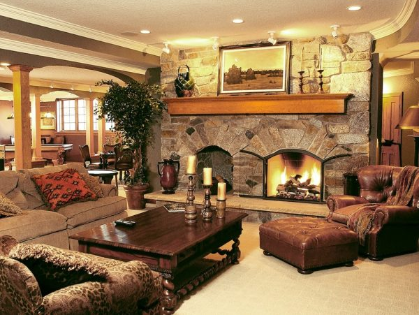living room decorating ideas and designs Remodels Photos Bartelt Delafield Wisconsin United States traditional-basement-001
