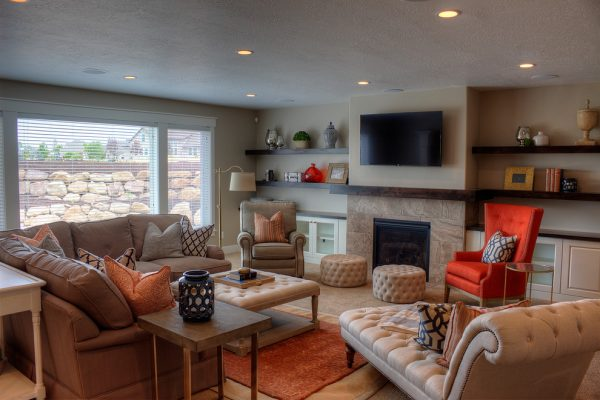 living room decorating ideas and designs Remodels Photos Joe Carrick Design Spanish Fork Utah United States transitional-basement-002