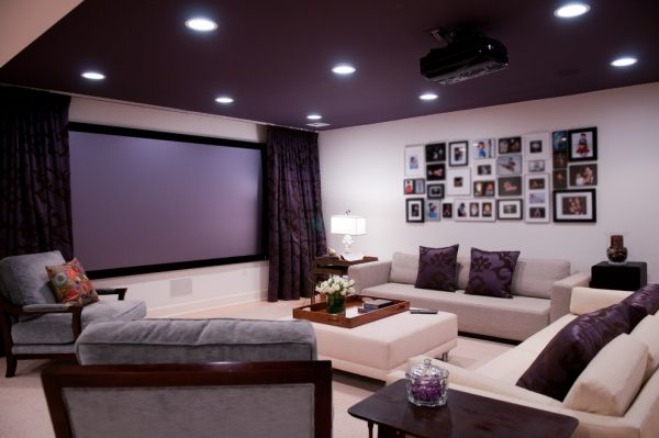 living room decorating ideas and designs Remodels Photos Amy Yin Interiors, LLC Short Hills New Jersey United States contemporary-home-theater