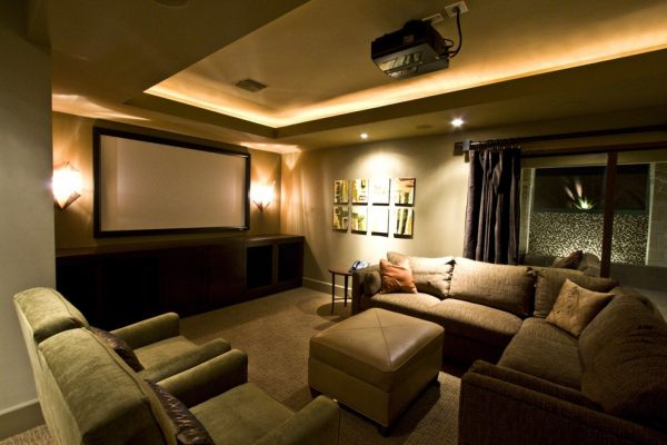 living room decorating ideas and designs Remodels Photos RIVER NORTH Las Vegas Nevada United States traditional-home-theater-001