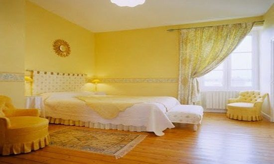 Interior Bedroom White And Yellow Color Interior Design