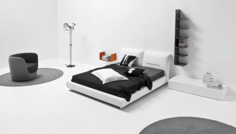 black and white interior design bedroom