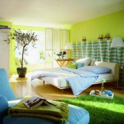 Bedroom interior painting ideas - cool muted colors