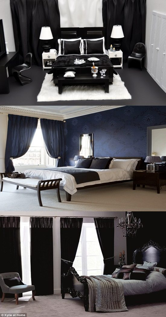 Black bedroom curtains