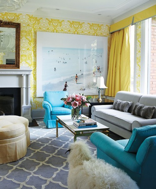 Bright and Colorful Living Room Design Ideas
