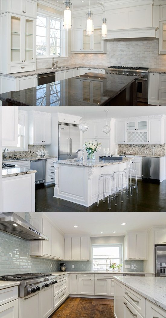 Kitchen Tile Backsplash Ideas with White cabinets