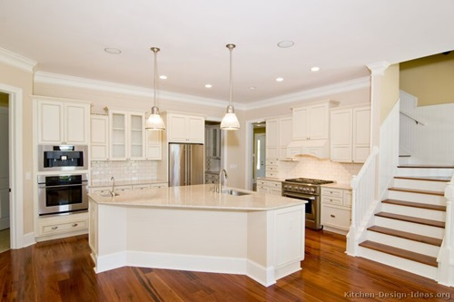 White Kitchen Cabinets With Iridescent Backsplash